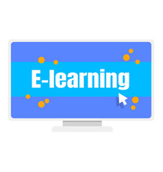 Elearning computer monitor icon flat style vector