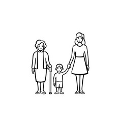 Family generation hand drawn sketch icon vector