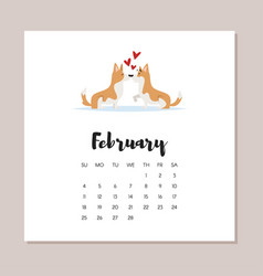 february dog 2018 year calendar vector image