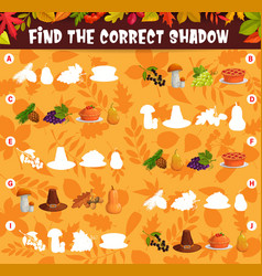 Find the correct shadow of thanksgiving harvest vector