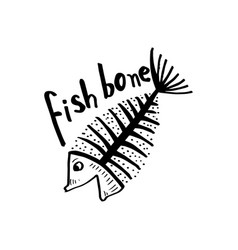 fish bone fish skeleton for shirt design poster vector image
