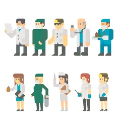 Flat design of medical worker set vector