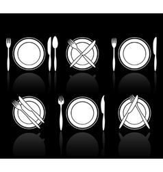 Fork knife and spoon icons vector