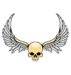 ghost skull with long wings and a big vector image