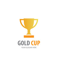gold cup logo for business company simple gold vector image