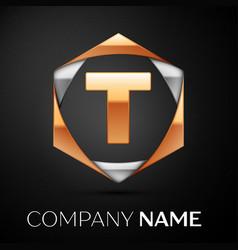 gold letter t logo in the golden-silver hexagonal vector image