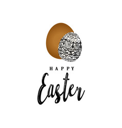 greeting card of happy easter hand eggs and vector image