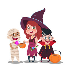 Halloween trick or treat kids in festive costumes vector