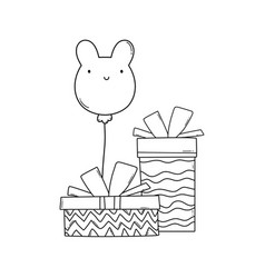 happy birthday cartoons black and white vector image