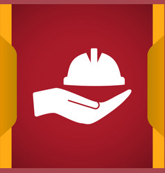 Hardhat with hand icon for web and mobile vector