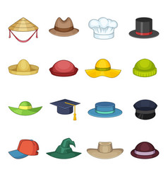 Hat cap icons set cartoon style vector