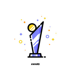 icon of modern glass award with golden medal vector image