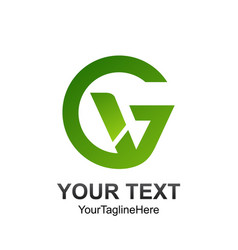 initial letter gv logo template colored green vector image