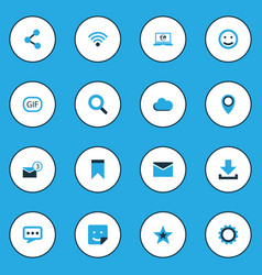 internet colorful icons set collection of sticker vector image vector image