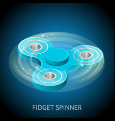 isometric 3d a blue fidget spinner or hand vector image