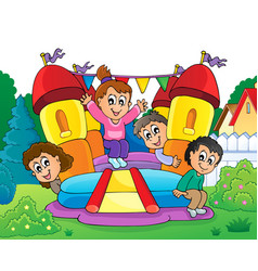 Kids on inflatable castle theme 2 vector