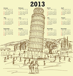 leaning tower of pisa 2013 vintage calendar vector image