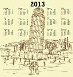 leaning tower pisa 2013 vintage calendar vector image