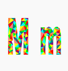 letter mlow poly alphabetgeometric style vector image