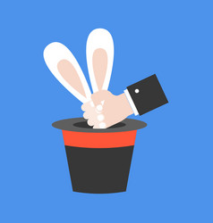 magician hand pull rabbit out of hat flat design vector image
