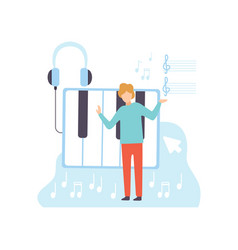 Male musician creating music content technology vector