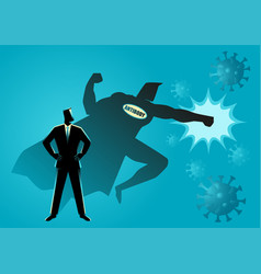 Man with his antibody fighting viruses vector