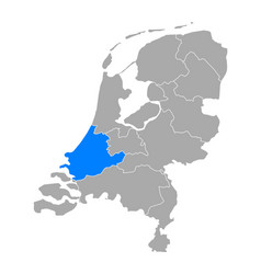 Map south holland in netherlands vector