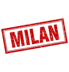 Milan red square grunge stamp on white vector