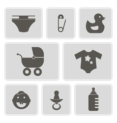 Monochrome icons with baby stuff vector