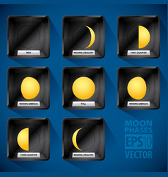 Moon phases icon set vector