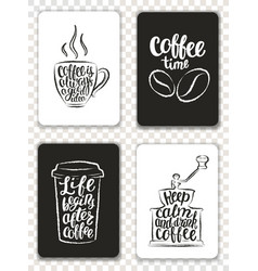Morden cards with coffee elements and lettering vector