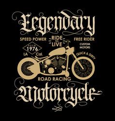 motorcycle sport t-shirt emblem vector image