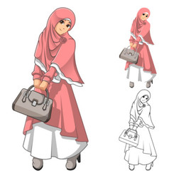 Muslim Woman Fashion Wearing Pink Veil or Scarf vector