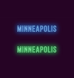 Neon name of minneapolis city in usa text vector