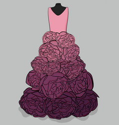 Pink and purple dress with a hem made in the form vector