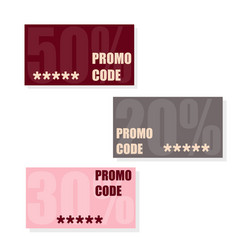 Promo code coupon code flat set of cards vector