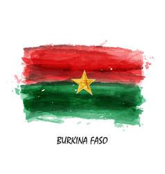 Realistic watercolor painting flag of burkina faso vector