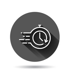 Recovery icon in flat style repeat clock on black vector