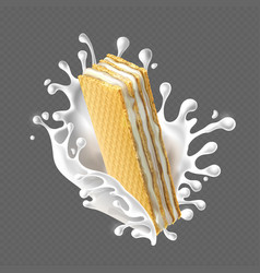 Rectangular crispy wafers with cream filling vector