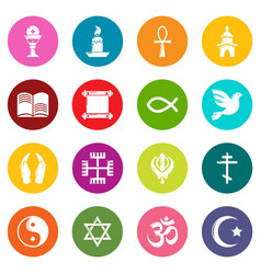 Religion icons set colorful circles vector