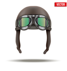 Retro aviator pilot helmet with goggles Isolated vector