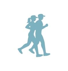 run couple blue silhouette vector image