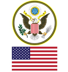Seal and flag united states vector