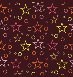 Seamless geometric pattern of circles and stars on vector