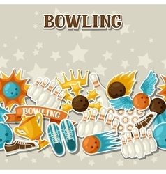 Seamless pattern with bowling items Background vector