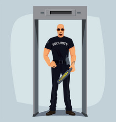 Security guard with metal detector vector