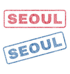 Seoul textile stamps vector