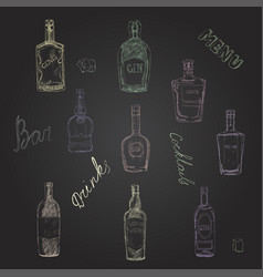Set of bottles with alcohol seamless vector