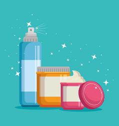 set of facial creams products vector image
