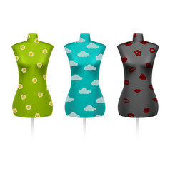 Set of female vintage dressmakers tailors dummy vector